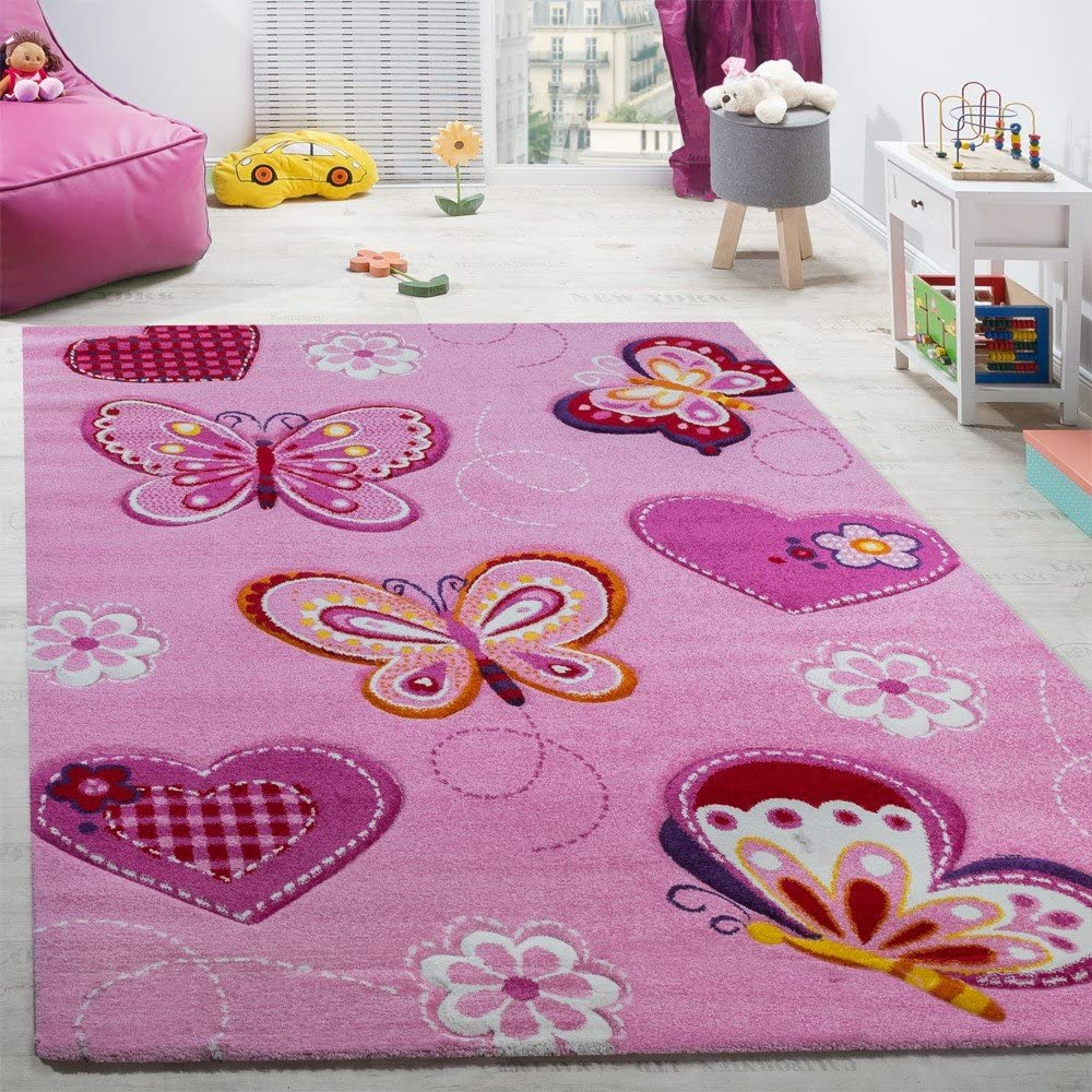 Size:/Ø 120 cm round Paco Home Childs bedroom rug childrens rug with butterfly motif contour-cut pink