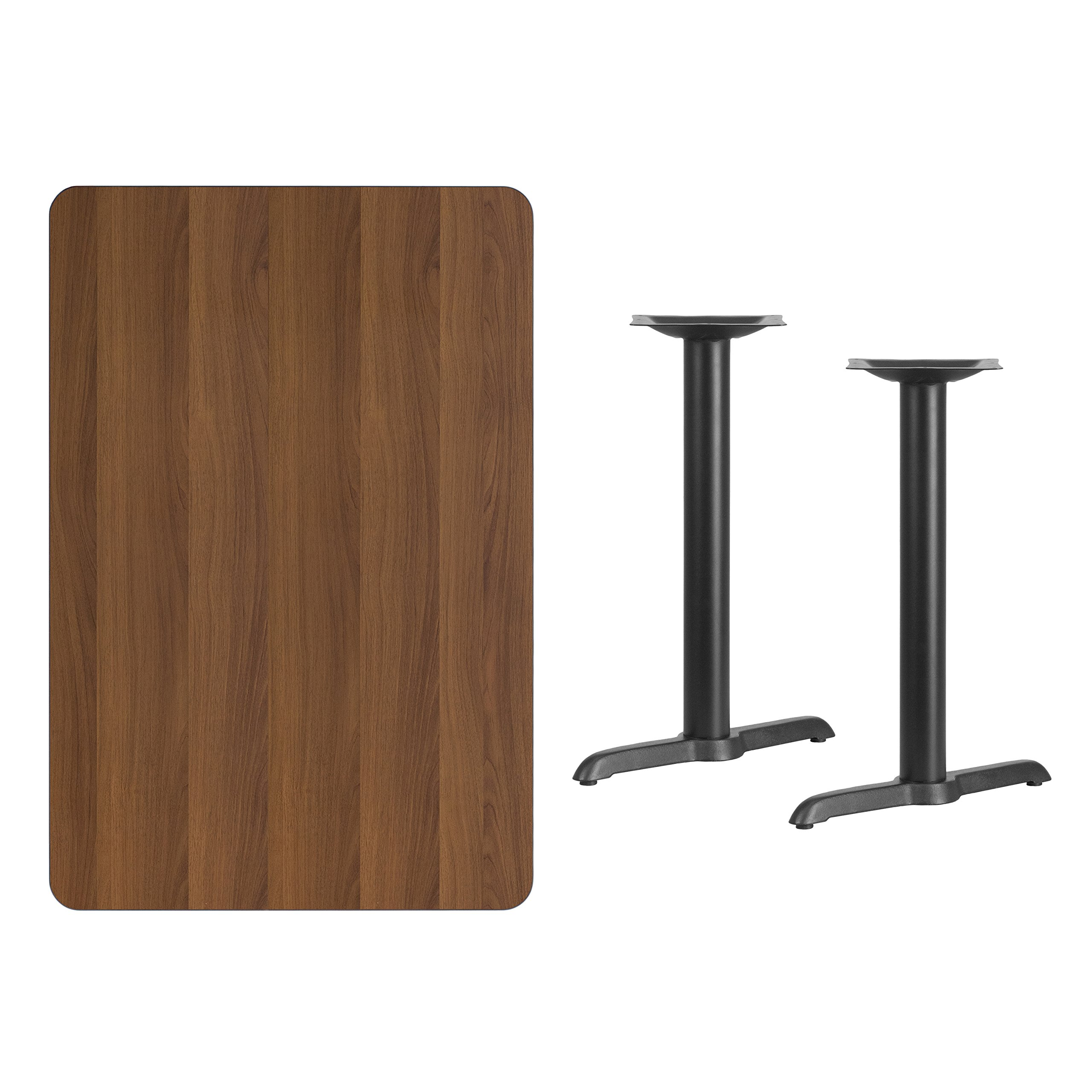 MFO 30'' x 45'' Rectangular Walnut Laminate Table Top with 5'' x 22'' Table Height Bases by My Friendly Office