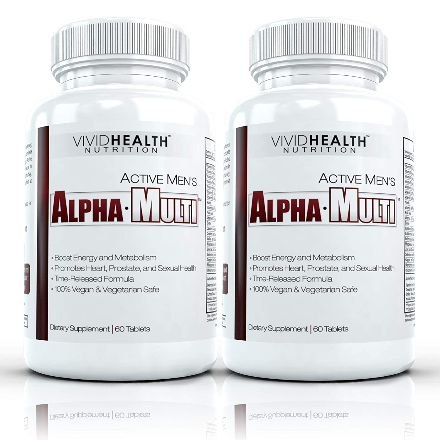 Active Men s Alpha-Multi – Complete One A Day Multivitamin for Men Supports Prostate Cardiovascular Health with Vitamin D, A, C, E, B12 Boost Energy, Libido, Virility 2 Bottles, 60 Tabs Each