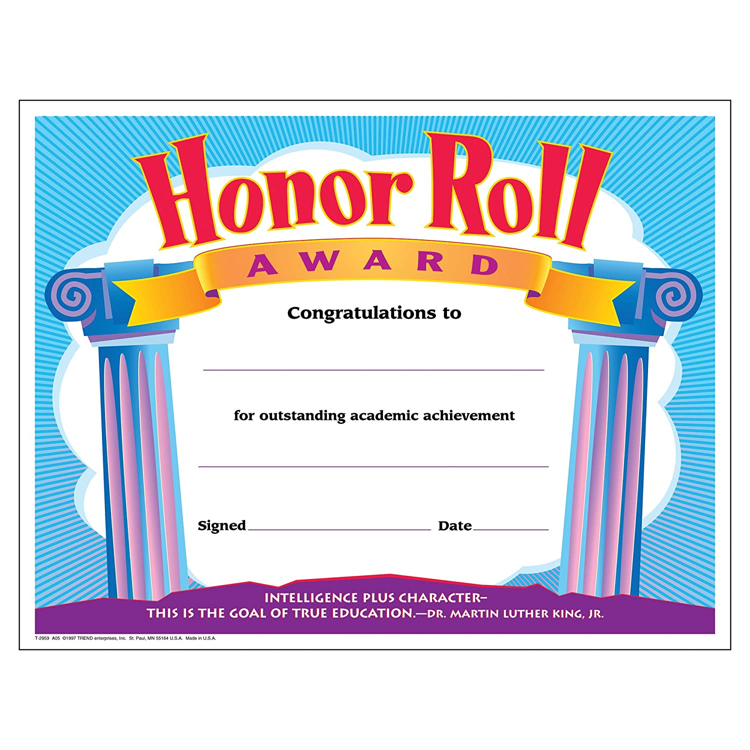 TREND enterprises, Inc. Honor Roll Award Colorful Classics Certificates, 30 ct T-2959