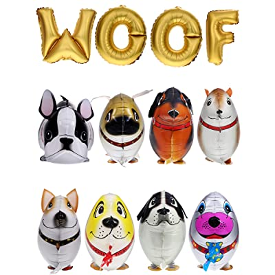 Gejoy 12 Pieces Walking Animal Balloons Pet Dog Balloons WOOF Letter Balloons Dog Birthday Themed Party Decorations Supplies: Toys & Games