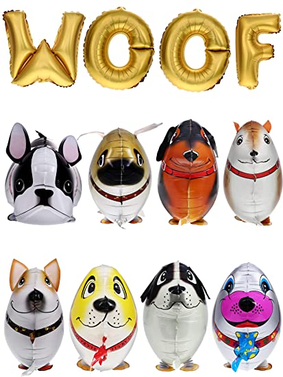 Gejoy 12 Pieces Walking Animal Balloons Pet Dog WOOF Letter Birthday Themed Party