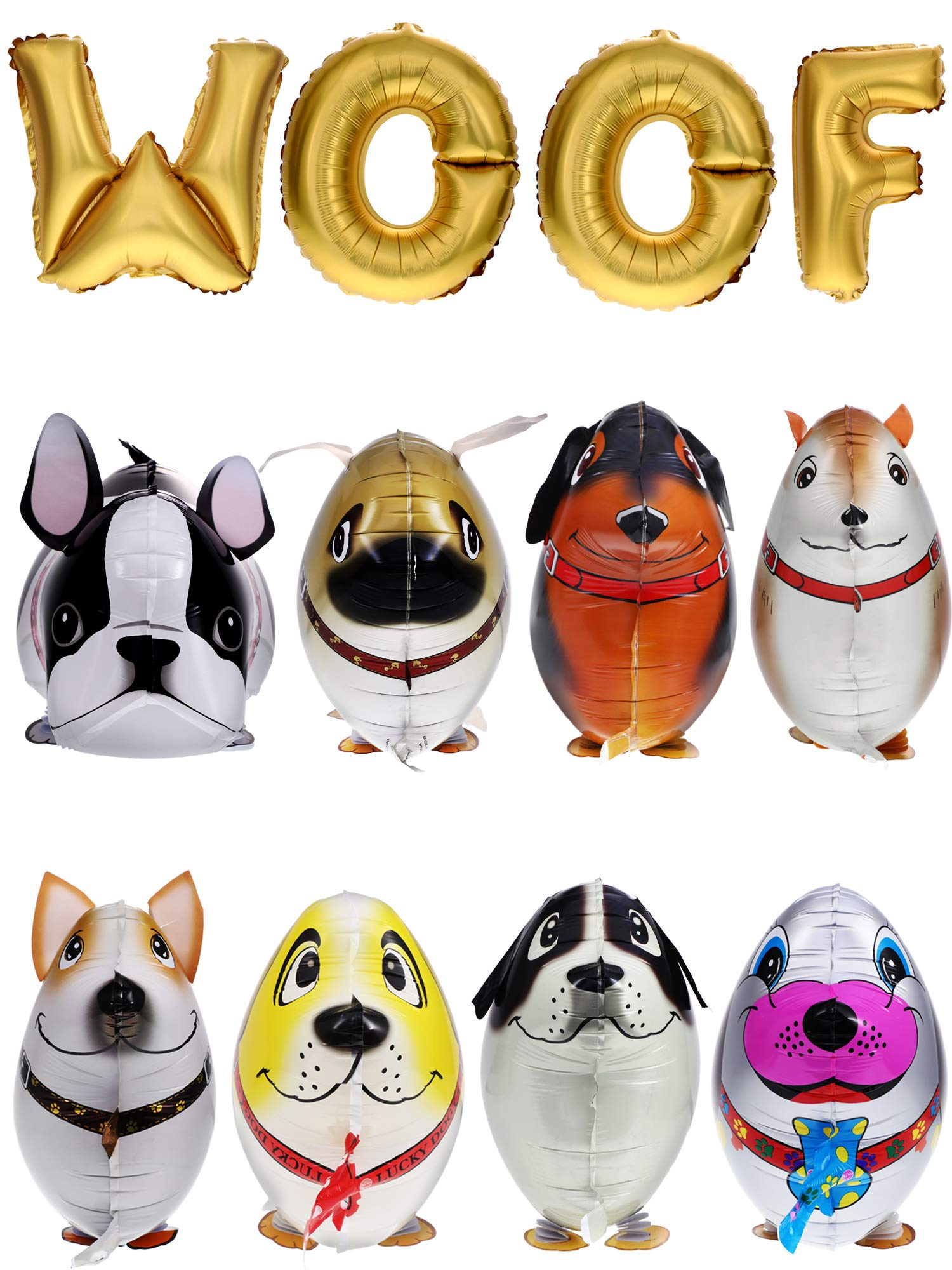 Gejoy 12 Pieces Walking Animal Balloons Pet Dog Balloons WOOF Letter Balloons Dog Birthday Themed Party Decorations Supplies