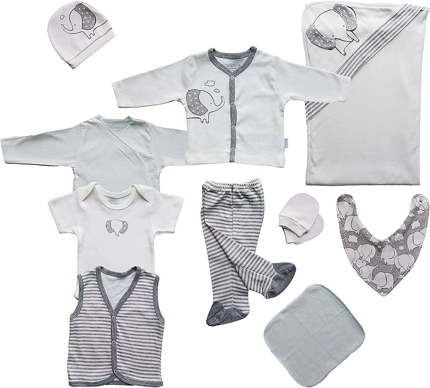 10PC Newborn Baby Layette Gift Set | Basic Essentials for Baby Boys/Girls | Take me Home Outfit | 100% Cotton | Baby Registry White/Grey