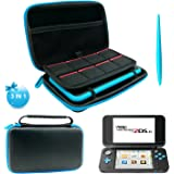 3 in 1 Protective Kit for NEW Nintendo 2DS XL - EVA Storage Bag with Stylus,2 Screen Protector Film and 8 pcs game card cases - Black