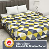 Divine Casa Twilight Geometric Microfiber Double Blanket - Green and Yellow