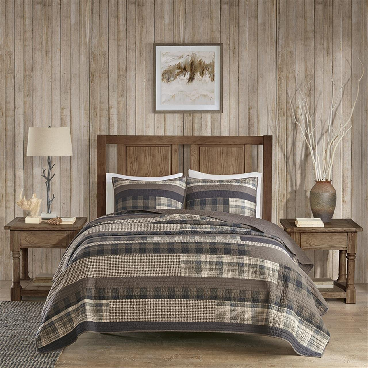 "Woolrich 100% Cotton Quilt Reversible Plaid Cabin Lifestyle Design All Season, Breathable Coverlet Bedspread Bedding Set, Matching Shams, King/Cal King(110""x96""), Winter Plains, Stripe Taupe, 3 Piece"