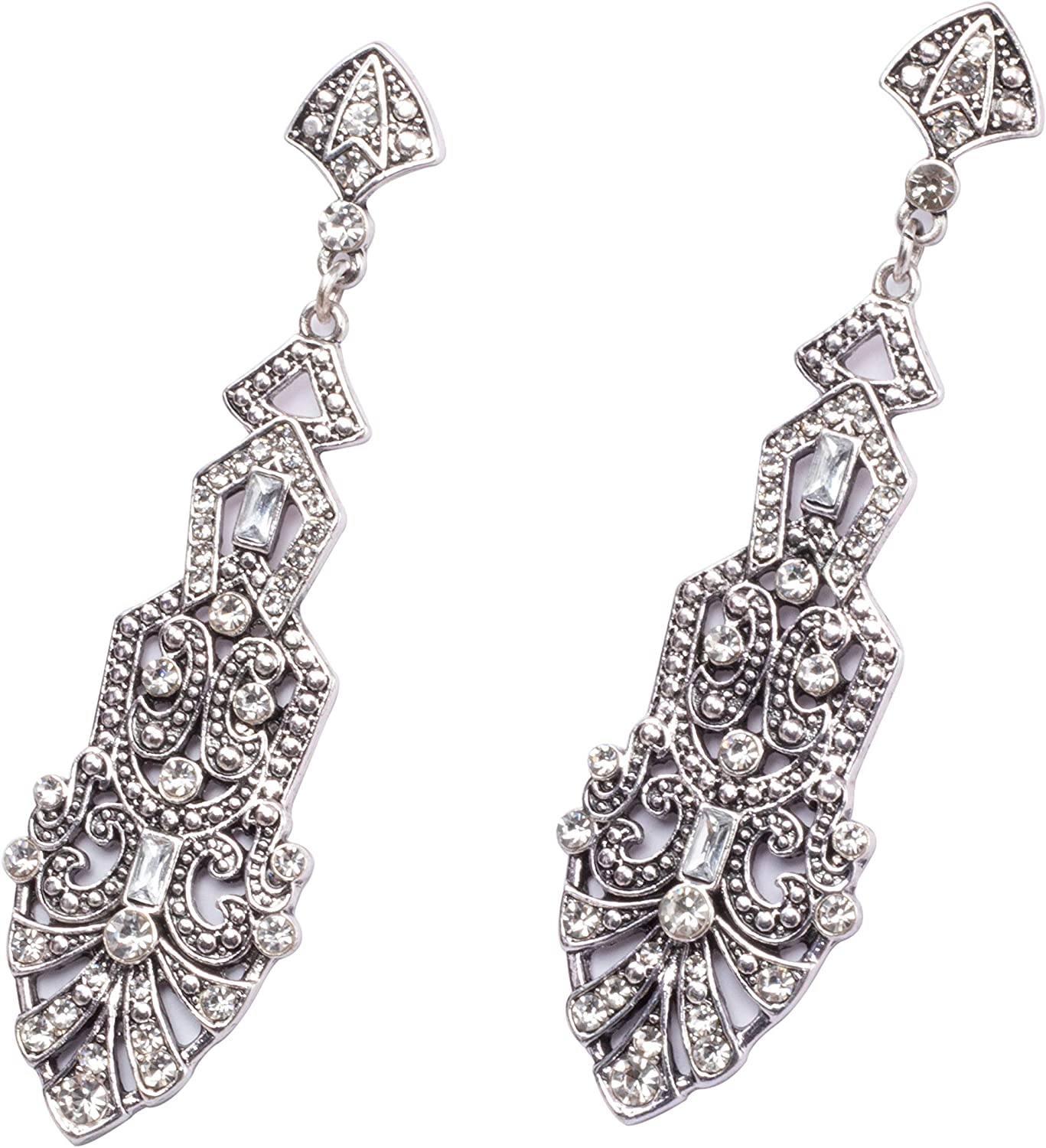 1920s Gatsby Jewelry- Flapper Earrings, Necklaces, Bracelets Metme Great Gatsby Earrings for Women 1920s Flapper Dangle Earrings Vintage Art Deco Earrings 20s Costume Accessories $12.99 AT vintagedancer.com