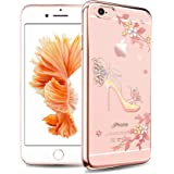 Sunba Youth Phone Case, Clear iPhone 6s Plus Case for Girls, Mini Bling High Heel with Swarovski Element Crystal for iPhone 6 Plus 6S Plus, Transparent Hard PC, Rosegold