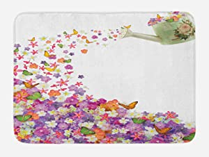 Ambesonne Floral Bath Mat, Butterflies Narcissus Flowers Violets and Pansies Pouring Out from Old Watering Can, Plush Bathroom Decor Mat with Non Slip Backing, 29.5