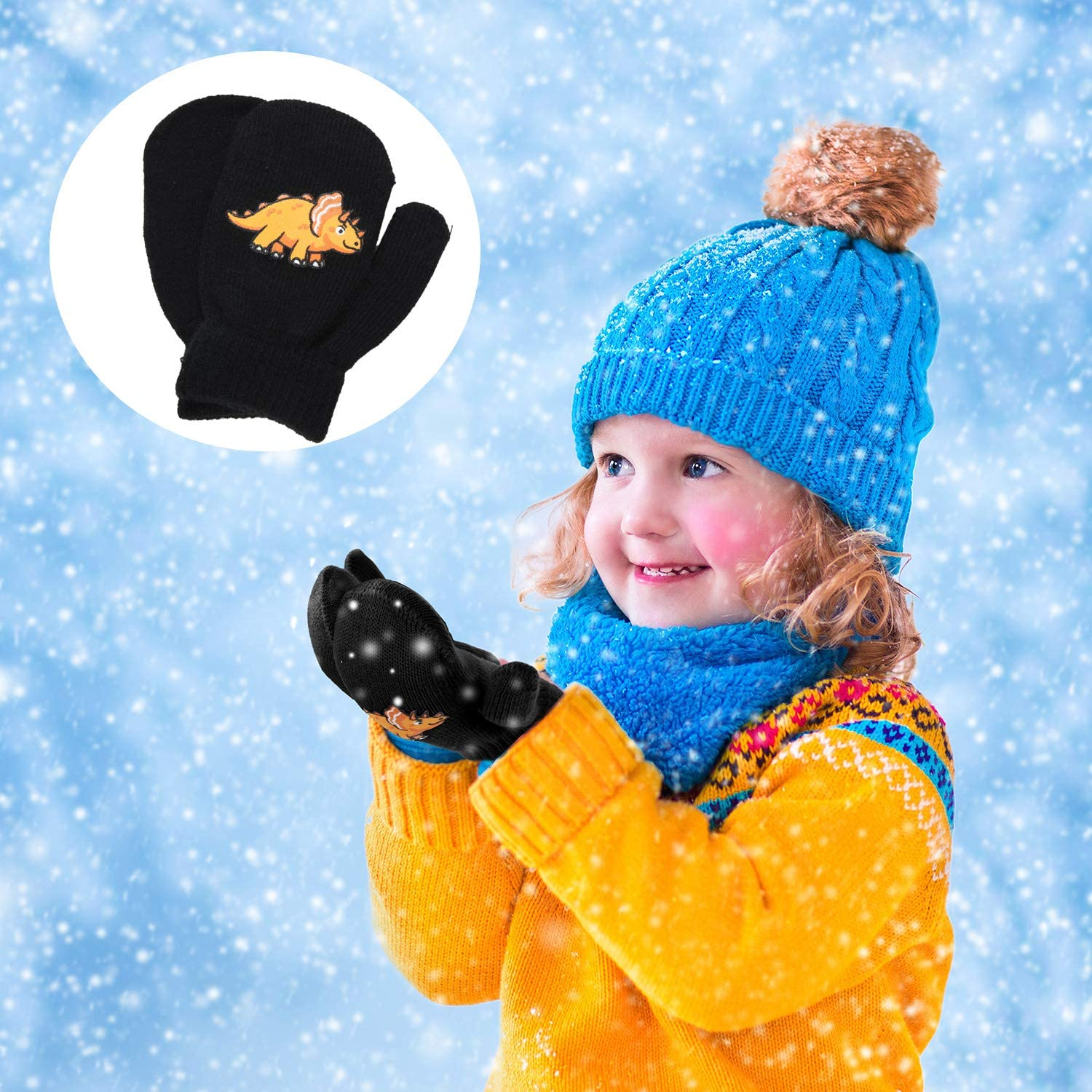 6 Pairs Toddler Stretch Mittens Winter Kids Knitted Full Finger Gloves Mittens
