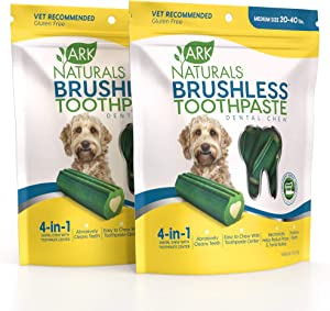 ARK NATURALS Brushless Toothpaste Bundle Pack, Dog Dental Chews for Medium Breeds, Vet Recommended for Plaque, Bacteria & Tartar Control, 2 Pack, Green and White, Model: 40021