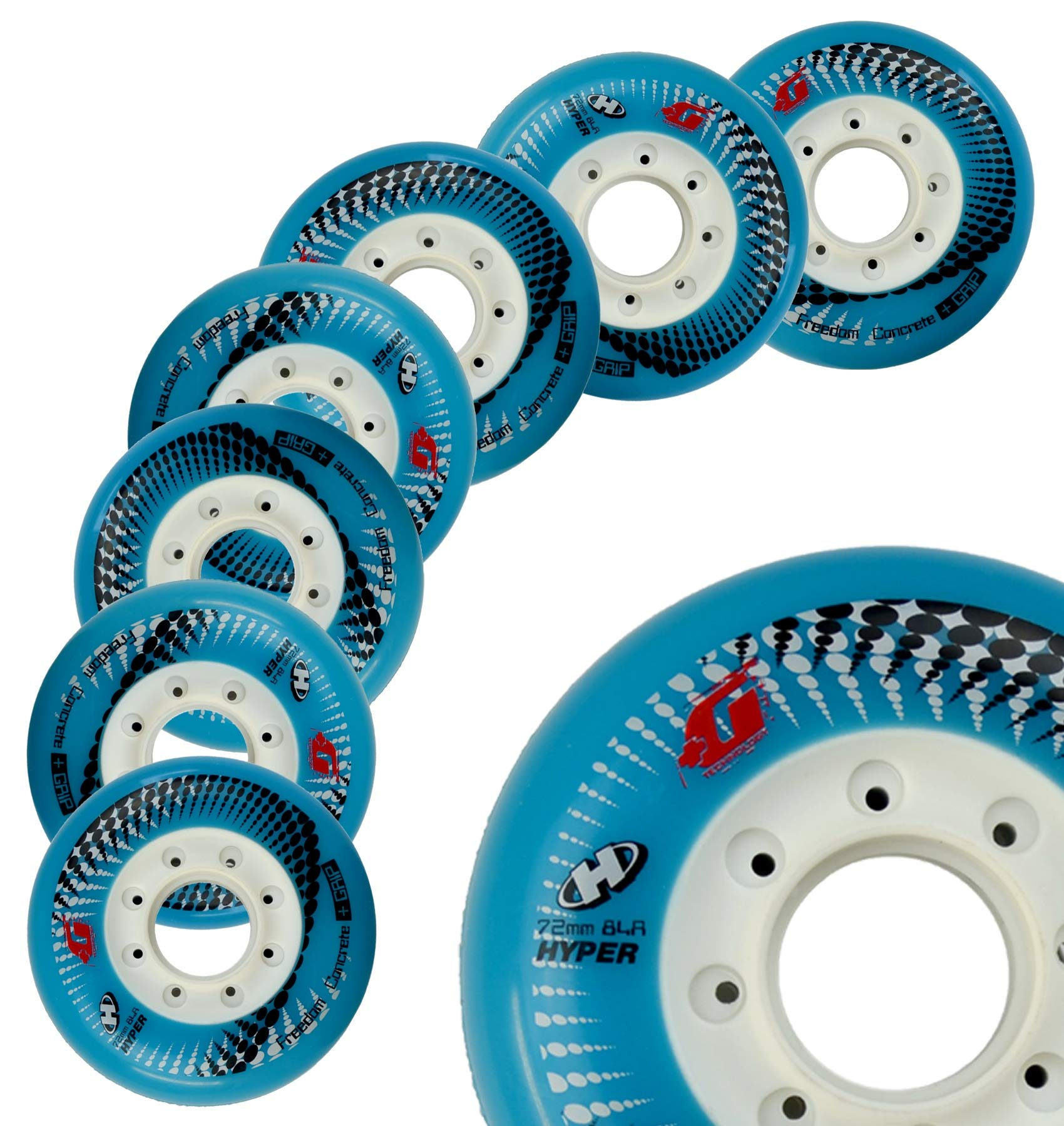 Inline Skate Wheels Hyper Concrete +G - 8 Wheels - 84A - Sizes: 72MM, 76MM, 80MM - Freeride, Slalom, Fitness, Urban - Colors: White, Black, Orange, Green, Cyan, Red (Cyan, 72MM)