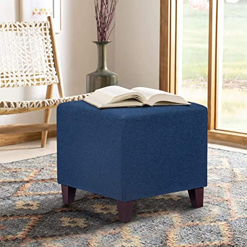 Edeco Square Ottoman Fabric Foot Stool, Blue