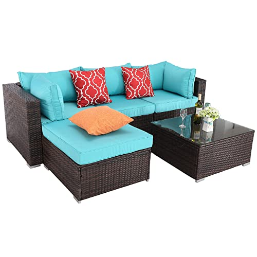 Do4U Patio Furniture Sets 5 Pieces All-Weather Outdoor Sectional Rattan Sofa Wicker Patio Conversation Set with Glass Table and Turquoise Cushion