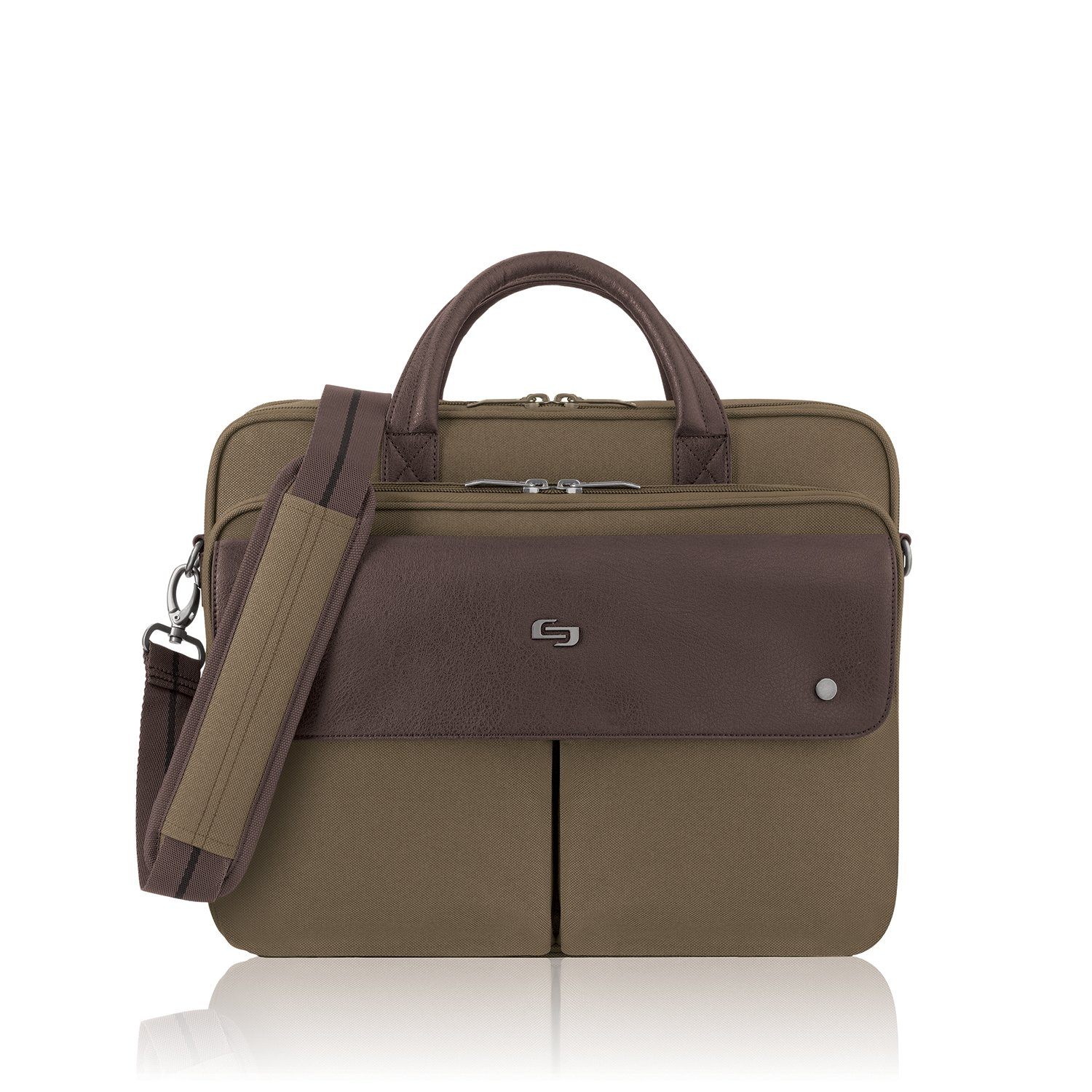 Solo Rucker 15.6 Inch Laptop Briefcase, Khaki