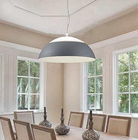 TXLighting Lámpara de Techo Moderna Plafon LED Colgante 60W Lámparas Araña Ajustable en Altura Φ65cm Gris Iluminación de techo de Interior para ...