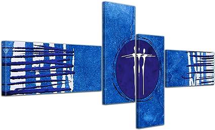 Cuadros en Lienzo - Arte abstracto Abstracto Xa azul - 200x90cm 4 partes - Listo tensa. Made in Germany!!!: Amazon.es: Hogar