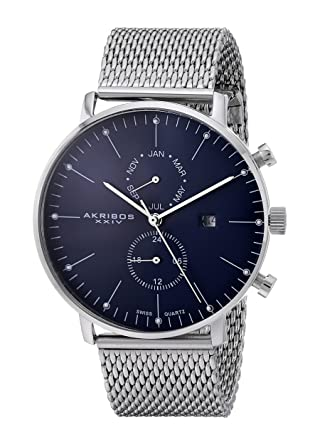 6bfd2db2d58 Amazon.com  Akribos XXIV Men s AK685SSBU Swiss Quartz Movement Watch with  Blue Matte Dial and Stainless Steel Mesh Bracelet  Watches