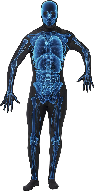 Smiffys Smiffys-21622XL Halloween Disfraz Hombre radiografía Segunda Piel, con Traje Entero, Cremallera escondida, Color Azul y Negro, XL-Tamaño ...