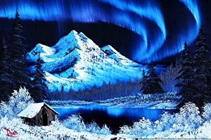 Bob Ross Northern Lights Canvas Art Print Painting Poster 12x18 Inch