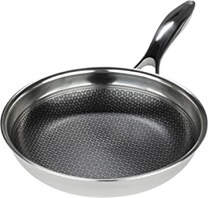 Black Cube Hybrid Stainless Steel Frying Pan with Nonstick Coating, Oven-Safe Cookware, 12.5 Inches