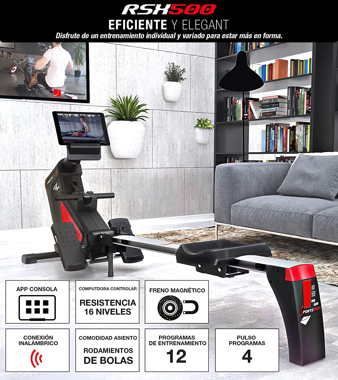 Sportstech Máquina de Remo RSX500 Smartphone Control, App de Fitness, 12 programas Remo + 4 cardíaca, 16 Niveles Resistencia,Modo competición, Cinta ...