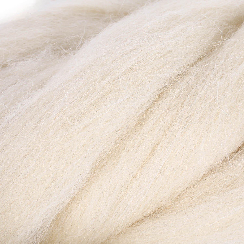 Milk White SOLEDI Natural Roving Wool Top Roving Fiber Spin Felt Crafts Needle Felting