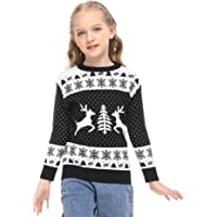 YEAQING Family Matching Christmas Sweater Round Neck Reindeer Snowflakes Knitted Ugly Sweater Pullover (Dad,Mom,Kids)