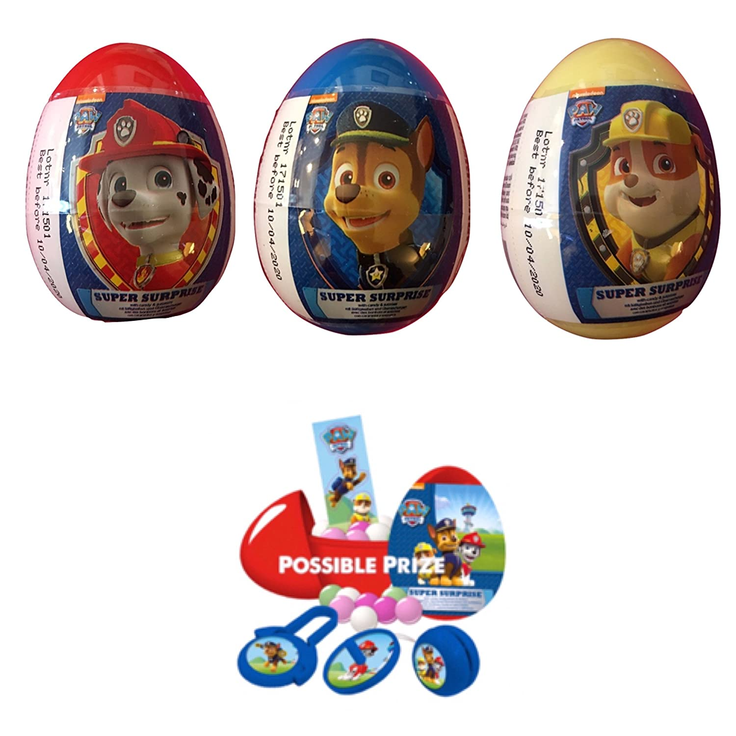 Amazon.com: 3 Paw patrol plastic surprise eggs with 2 single figures.: Toys & Games