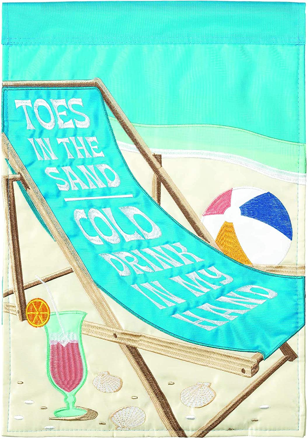 Dicksons Toes in The Sand Cobalt Blue 23 x 7 Large Polyester Outdoor Hanging Garden Flag
