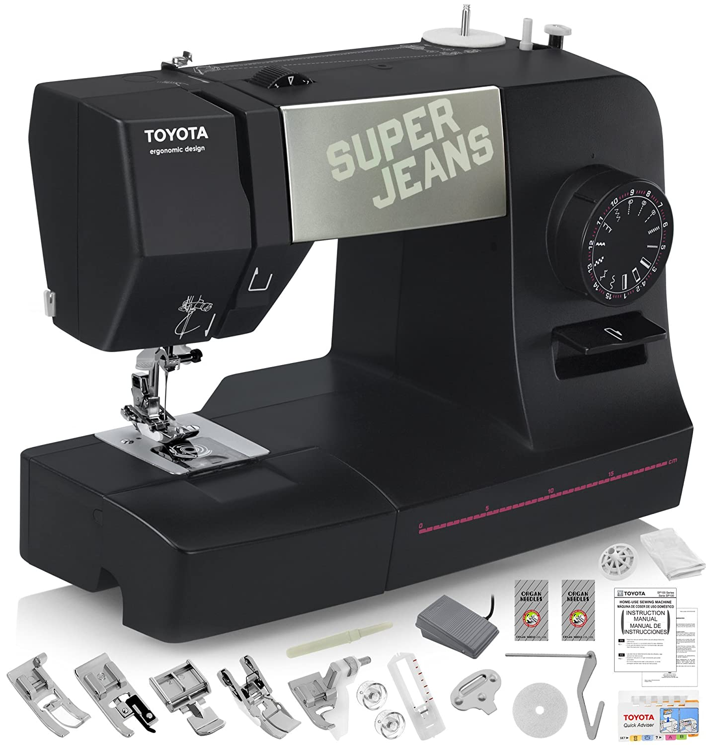 TOYOTA Super Jeans J15 Sewing Machine (Glides Over 12 Layers of Denim) w/ Gliding Foot, Blind Hem Foot, Zipper Foot, Overcast Foot, Needles and More!