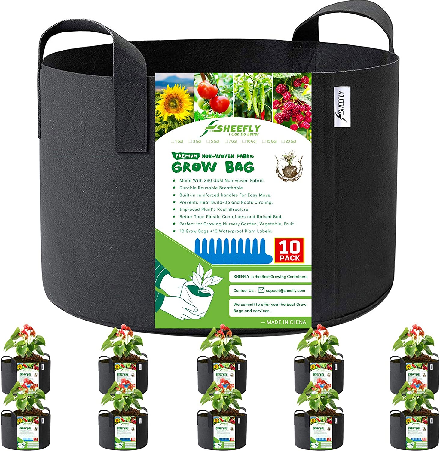 SHEEFLY 10 Pack 5 Gallon Grow Bags, Non Woven Durable Thickened Aeration Fabric Pots Container with Reinforced Handles for Nursery Garden Home Vegetable, Fruit,with 10 PCS Plant Labels (Black)