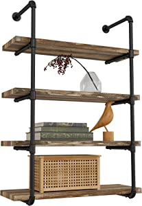 IRONCK Industrial Shelving Pipe Shelf 4-Tier, Planks Included, Rustic Home Decor Wall Decor, Wall Shelves for Bedroom, Bathroom, Kitchen