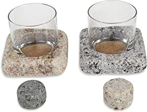 "Cool Coaster 6 Piece Set- Includes: Two 4"" Square Granite Coasters, Two 10oz Glass Tumblers & 2 ""On the Rocks"" Solid Granite Whisky Stones by Sea Stones"