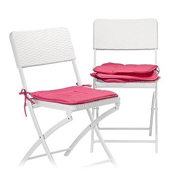 Relaxdays Galette De Chaise Avec Boucles Coussin Lot 4 Coussins Lavables Jardin Interieur