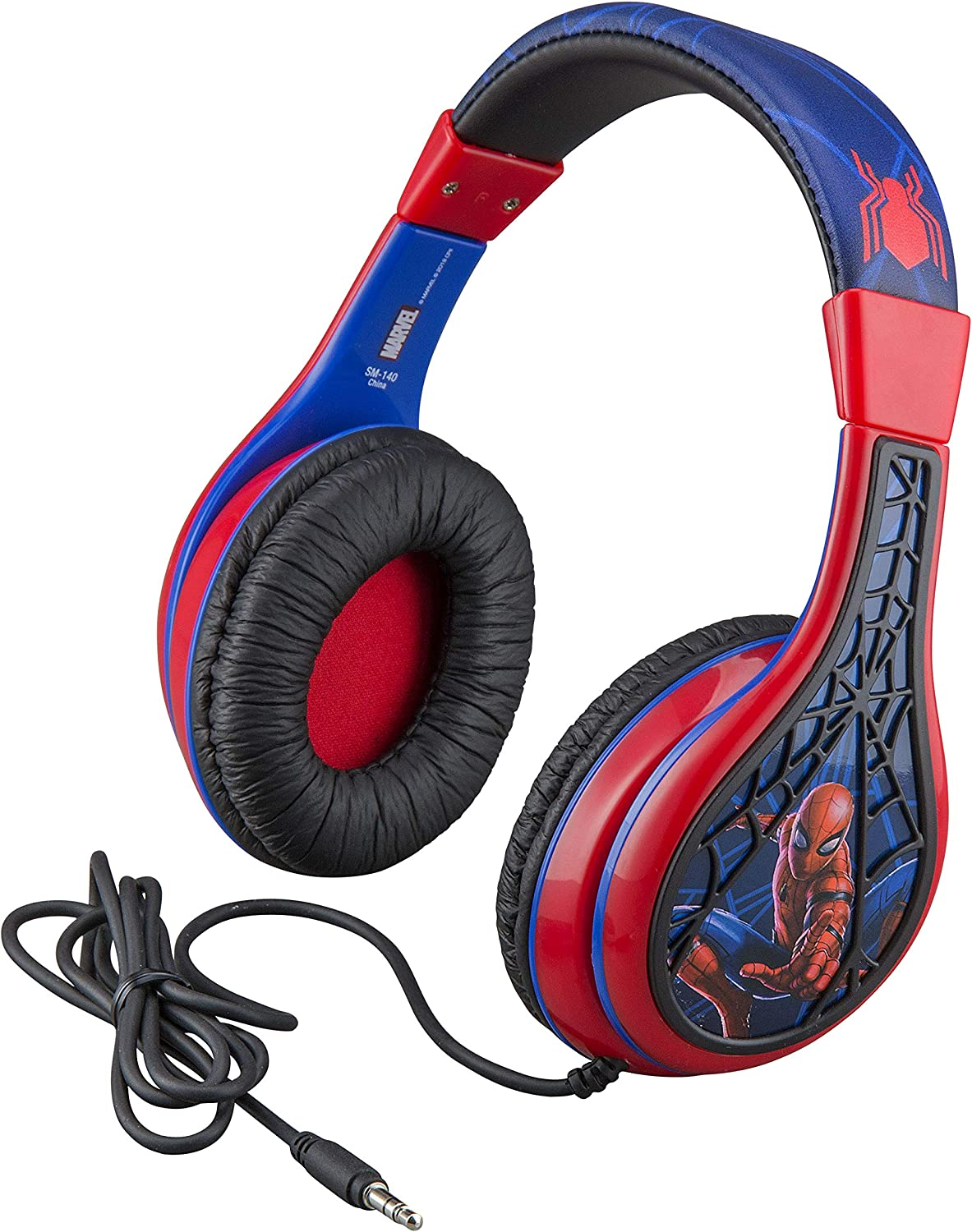 Spider Man Kids Headphones, Adjustable Headband, Stereo Sound, 3.5Mm Jack, Wired Headphones for Kids, Tangle-Free, Volume Control, Foldable, Childrens Headphones Over Ear for School Home, Travel