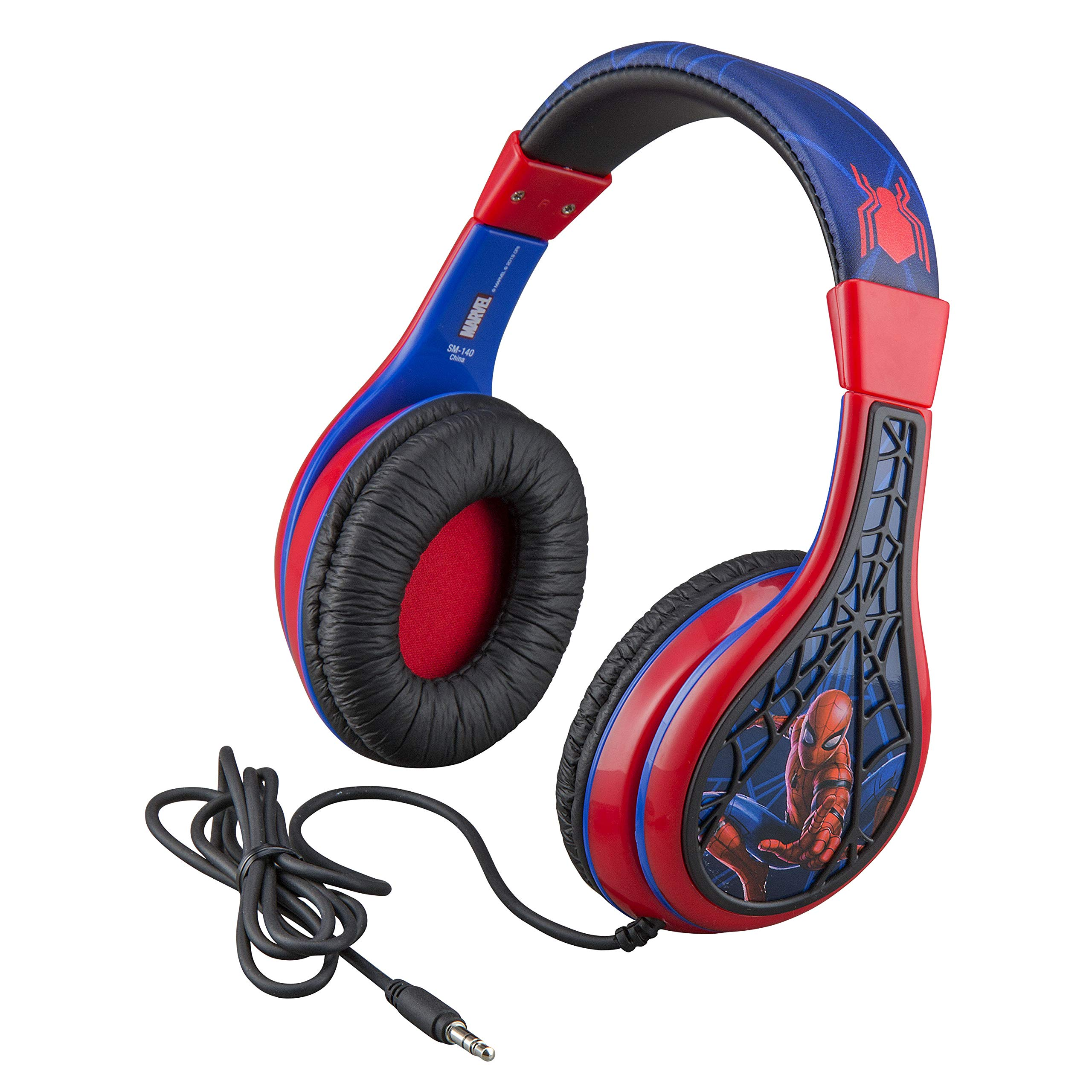 Spider Man Kids Headphones, Adjustable Headband, Stereo Sound, 3.5Mm Jack, Wired Headphones for Kids, Tangle-Free, Volume Control, Foldable, Childrens Headphones Over Ear for School Home, Travel by eKids
