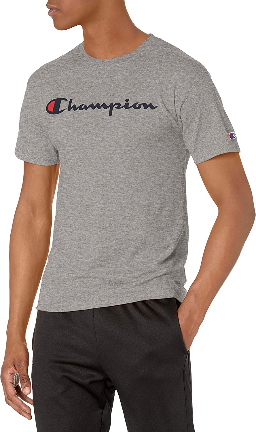Champion Men's Classic Jersey Script T-Shirt at  Men's Clothing store