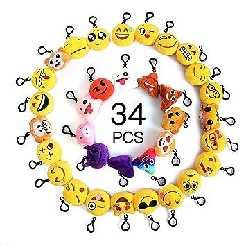 Moobom Mini Cute Stuffed Toy almohada de peluche Smiley Poop Emoji llavero bolsa de partido suave llavero para niños favores suministros de fiesta, ...