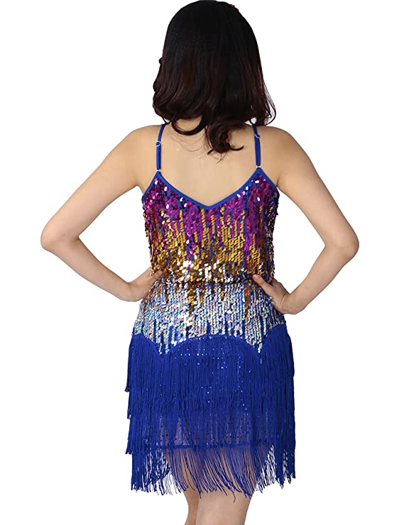 Astage Gatsby 1920er Latin Rhythms Salsa Cha Cha Sequin Fringe Dance Costumes, Deporte, color azul cobalto, tamaño DE 32-38: Amazon.es: Deportes y aire ...