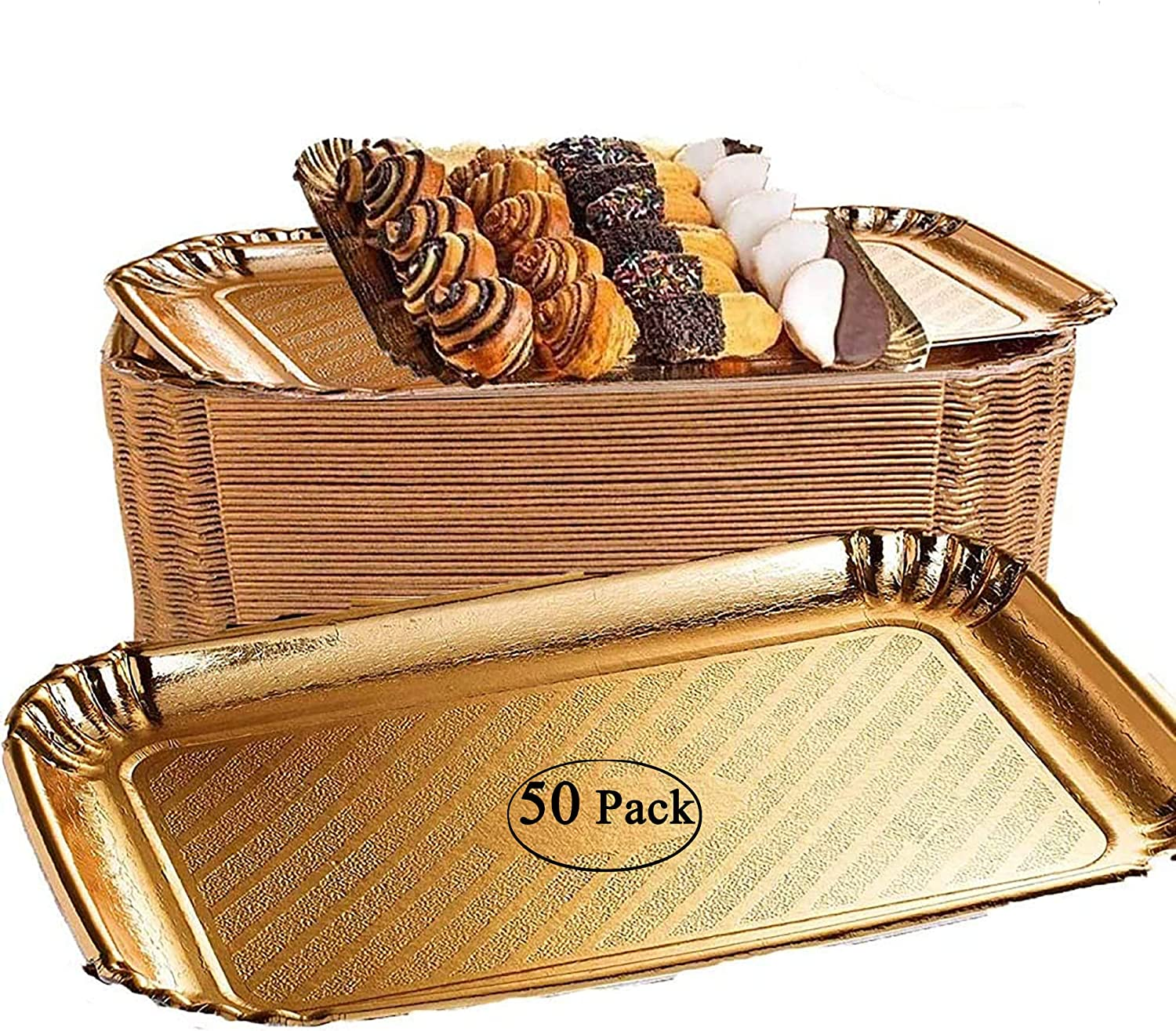 50 Pack gold food tray Gold Cake Trays. Disposable Serving Trays Great for Birthday, Party, Wedding, gold cookie tray gold tray for dessert table 9 x 13 (50)