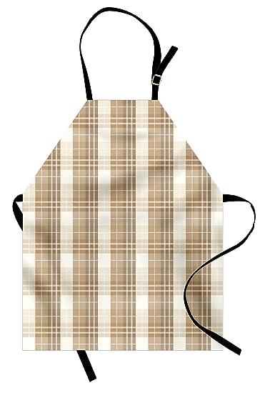 amazon com lunarable cream apron checkered pattern with soft rh amazon com