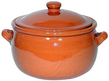 Amazing Cookware Olla para guisar con Capacidad de 5 litros, una Maravillosa Pieza de Cocina de Terracota Natural
