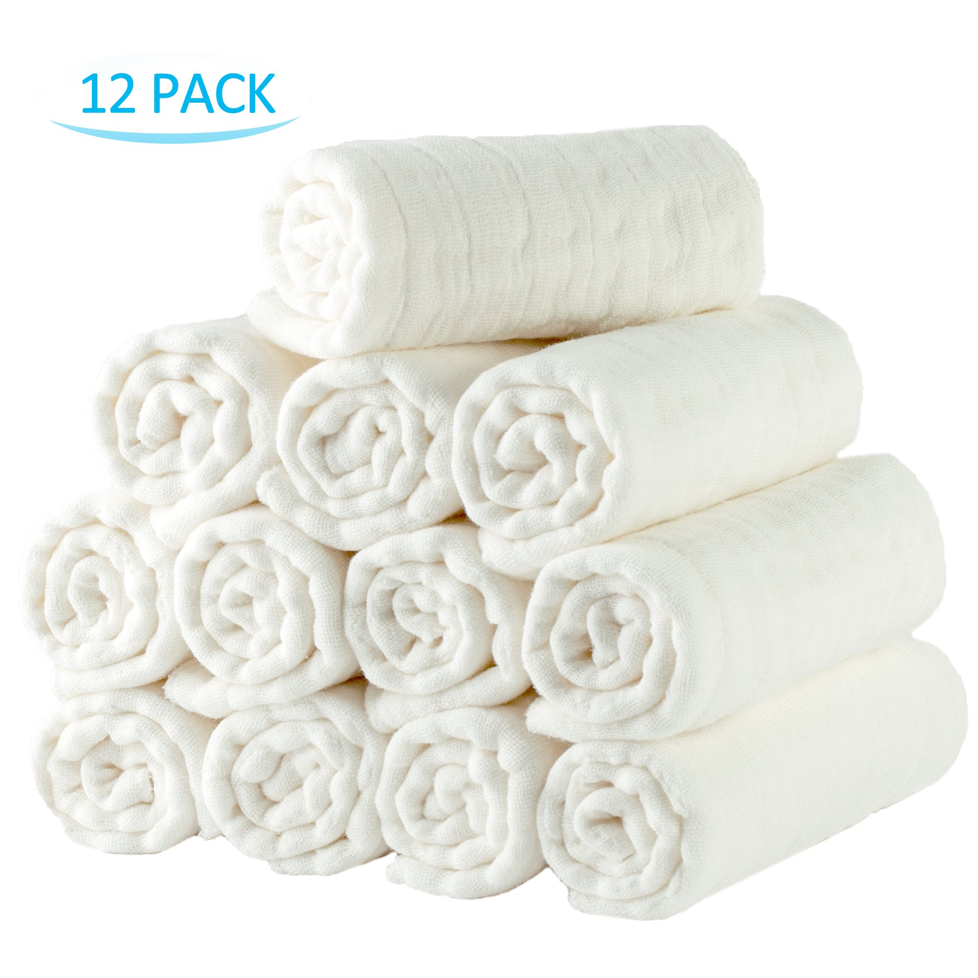 NC Prefold Cloth Diapers with Cloth Diaper Fasteners, 100% Cotton High Absorbent Diapers, Fits Newborn Babies to Toddlers (10-30 lbs), Multi-Use, White, 12 Pack