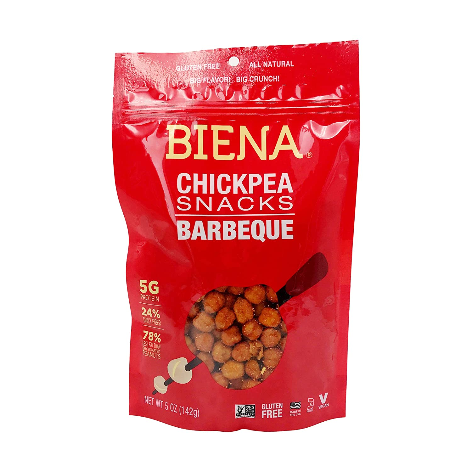 Biena Foods, BBQ Roasted Chickpea Snack, 5 Ounce