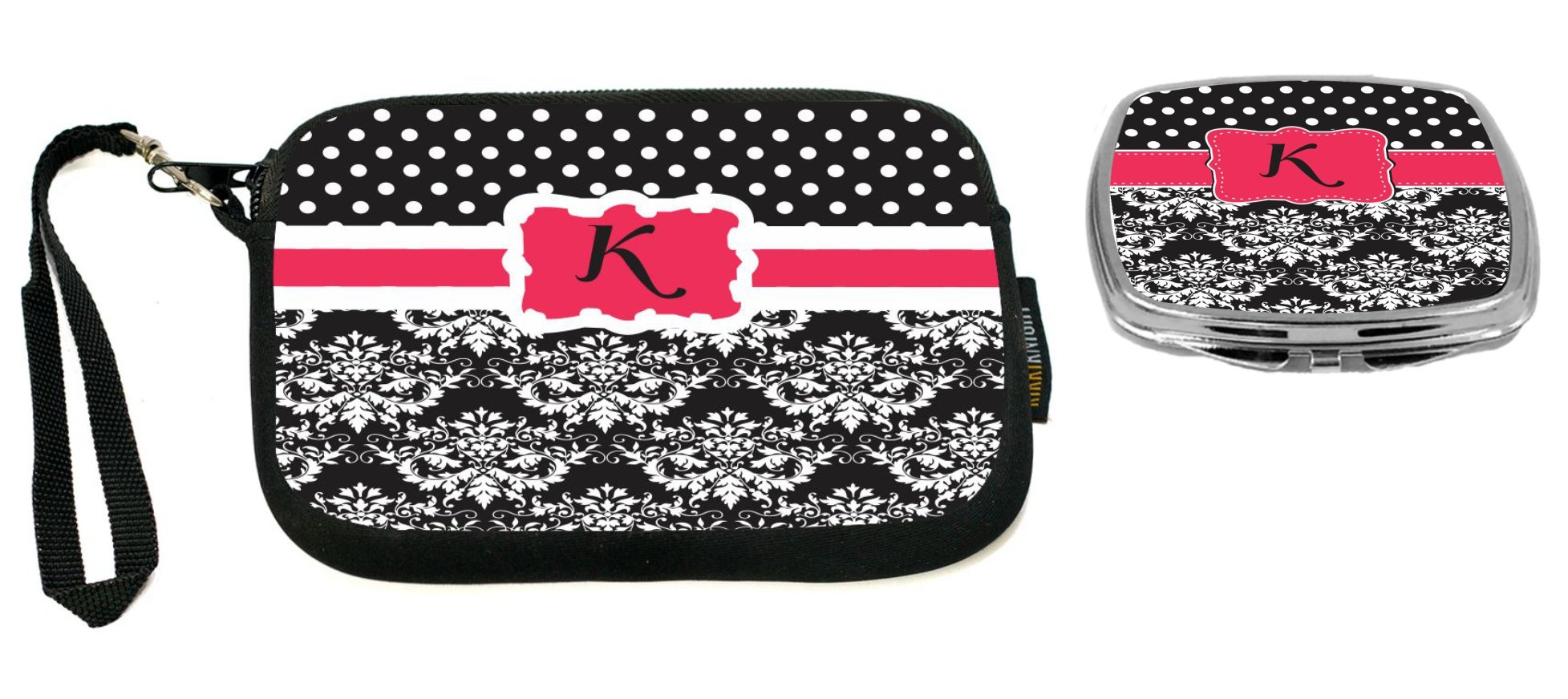 Rikki Knight Letter''K'' Pink Black Damask Dots Design Neoprene Clutch Wristlet with Matching Square Compact Mirror