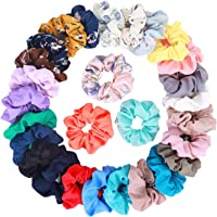 28Pcs Women's Chiffon Hair Scrunchies Elastic Hair Ties Ponytail Holders, includes 20Pcs Solid Color Chiffon Scrunchies and 8Pcs Flower Color Chiffon Scrunchies