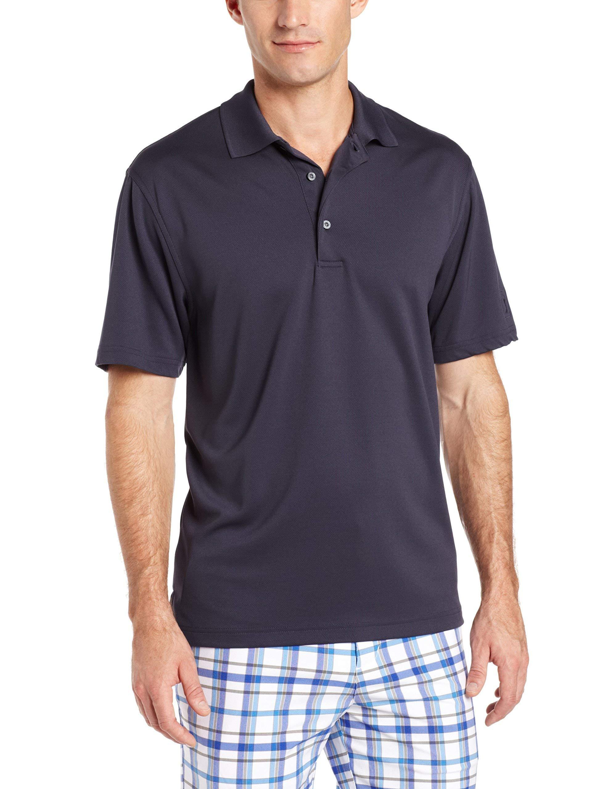 PGA TOUR Men's Short Sleeve Airflux Solid Polo Shirt, Graphite, S