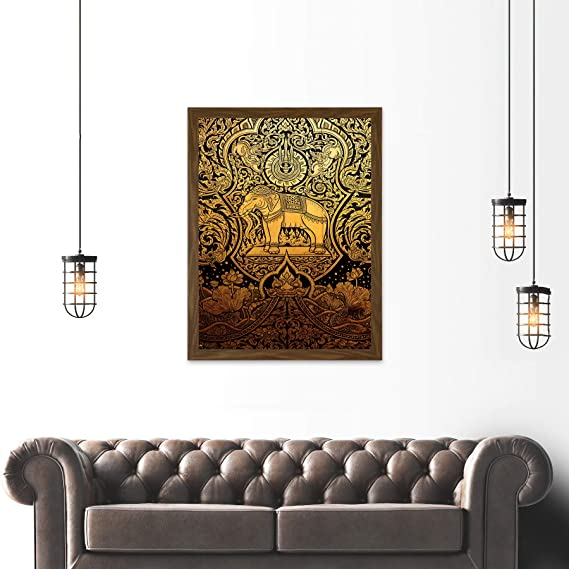 PAINTING DRAWING ORNATE ABSTRACT THAILAND ELEPHANT ART PRINT POSTER MP3806A